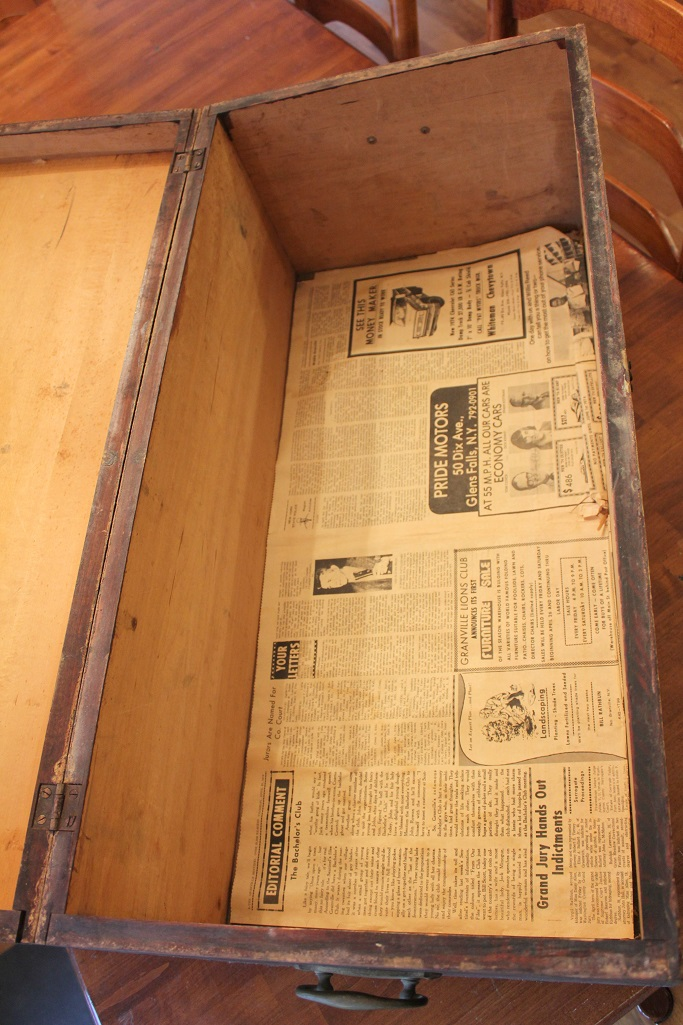 Antique Trunk Makeover - Inside - Life on Kaydeross Creek