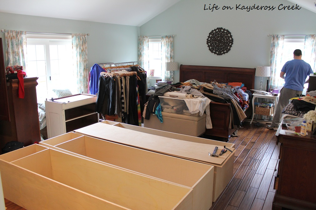 Master Bedroom Closet Makeover - The storm before the calm - building the boxes in our room - Life on Kaydeross Creek