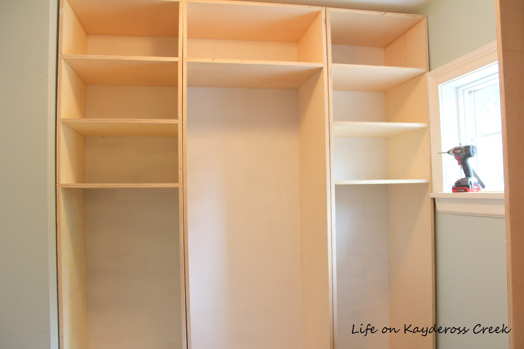 Master Bedroom Closet Makeover - boxes installed before trim - Life on Kaydeross Creek