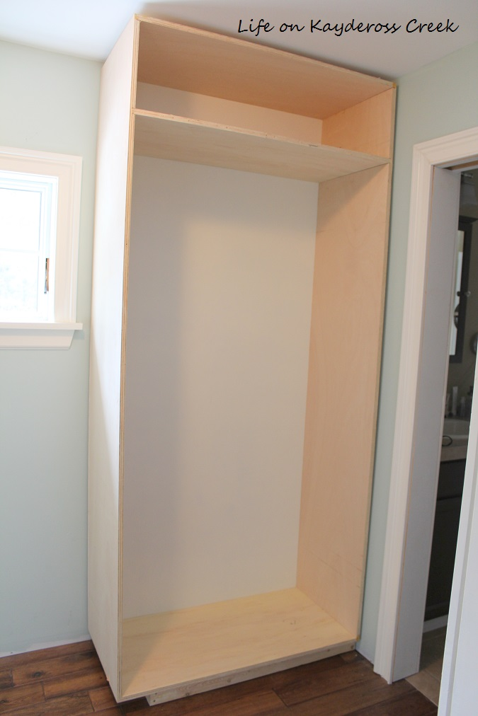 Master Bedroom Closet Makeover - Box assembled and placed - Life on Kaydeross Creek