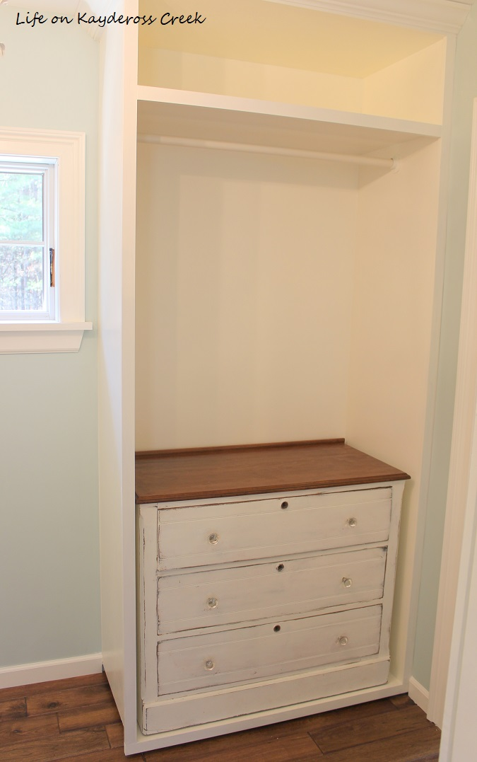 Master Bedroom Closet Makeover - Hangbars in for more storage and dresser - Life on Kaydeross Creek