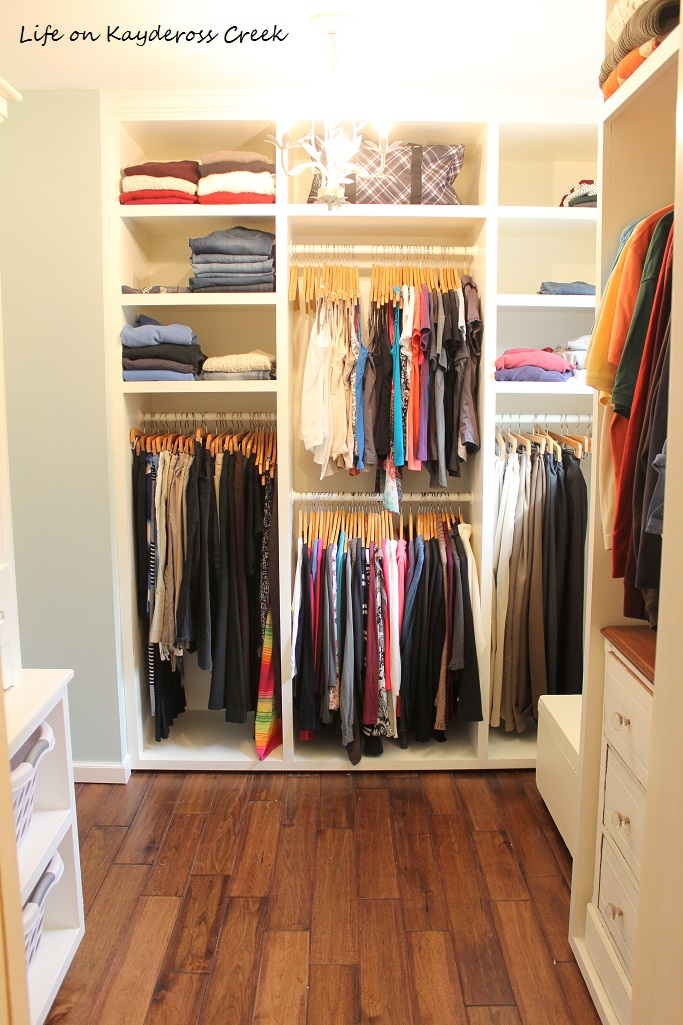 Master Bedroom Closet Makeover - closet organization with built in cabinets - Life on Kaydeross Creek
