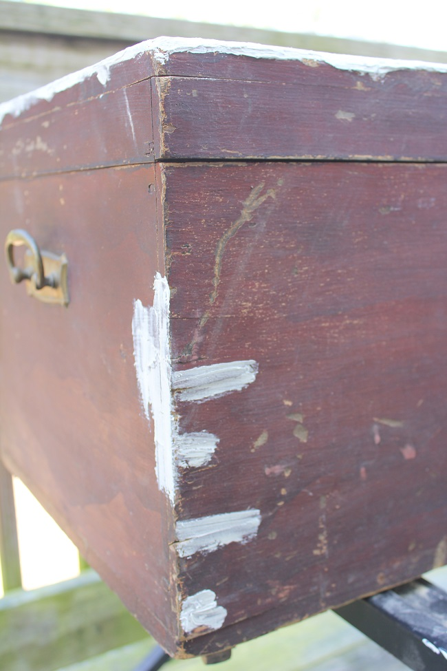 Antique Trunk Makeover - filling in the holes with spackle - Life on Kaydeross Creek