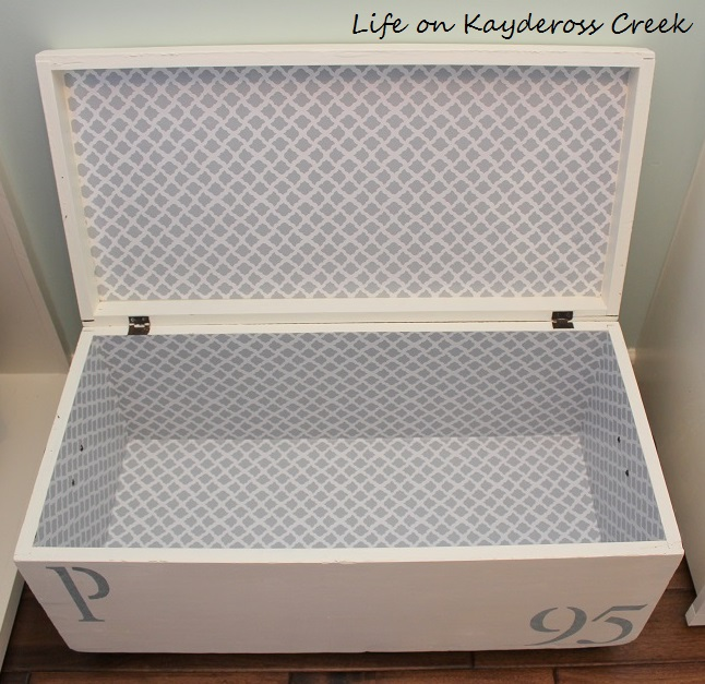 Antique Trunk Makever - Lining the inside with shelf liner - Life on Kaydeross Creek
