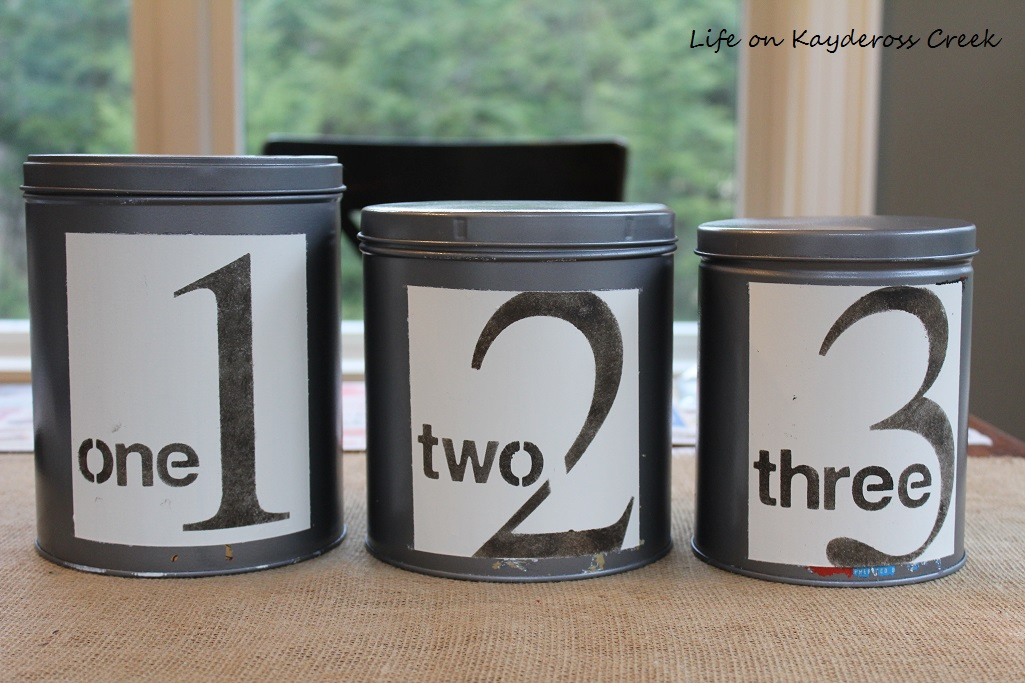 DIY Farmhouse Canister Set - Easy DIY project using craft paint and stencils - Birch Lane knock off - Life on Kaydeross Creek