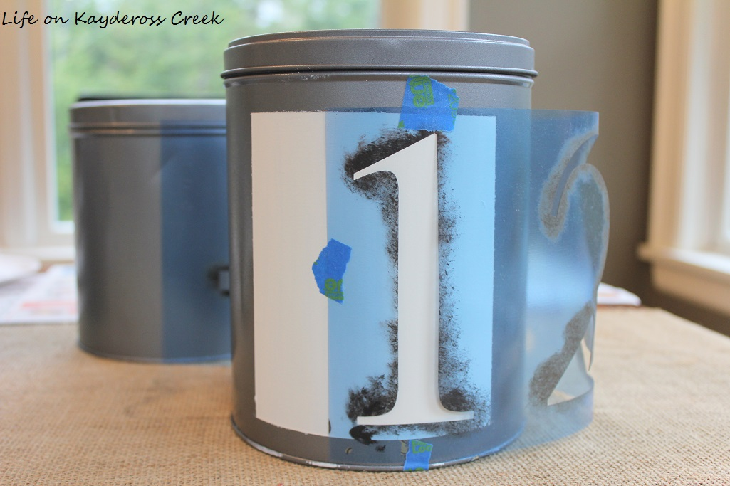 DIY Farmhouse Canister Set - Stencils and craft paint make these knock off tins and easy project - Life on Kaydeross Creek