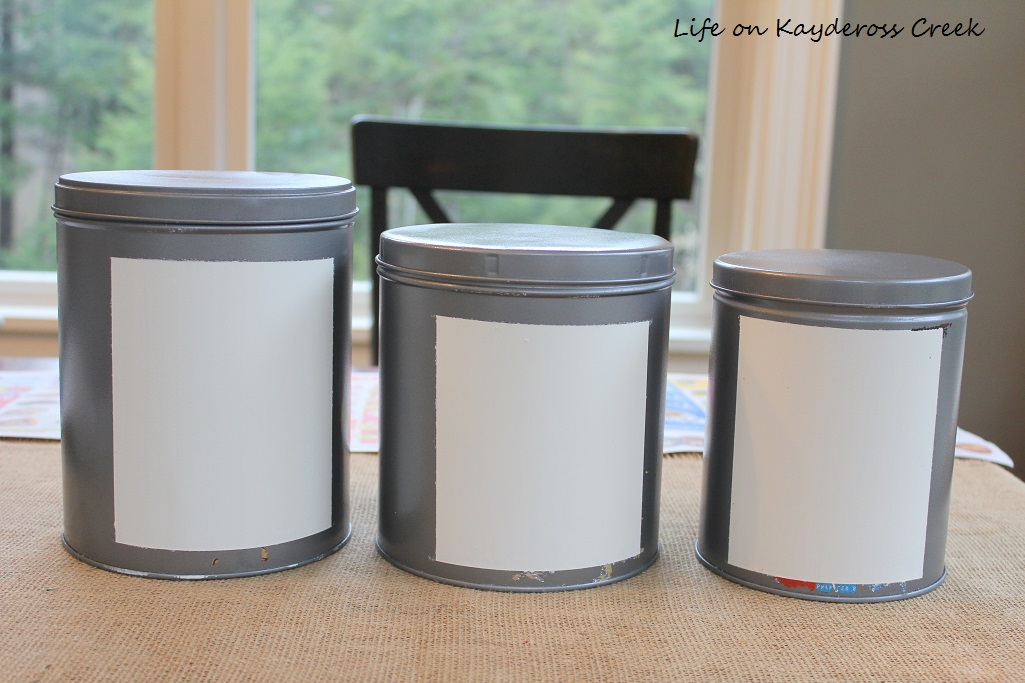 DIY Farmhouse Canister Set - craft paint and stencils make these an easy project - Life on Kaydeross Creek