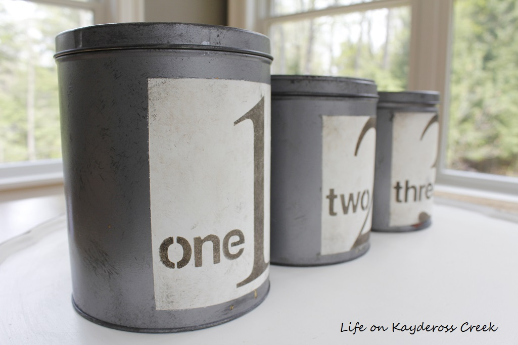 DIY Farmhouse Canister Set - thrift store finds to farmhouse decor -Birch Lane Knock Off - Life on Kaydeross Creek