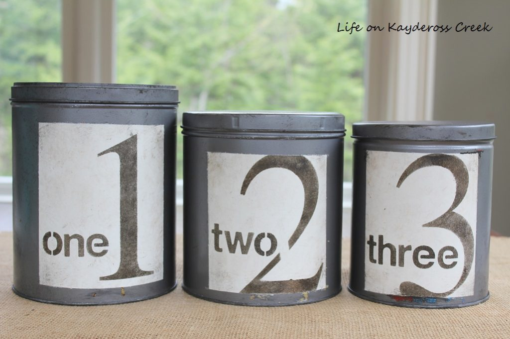 DIY Farmhouse Canister Set - using stencils and distress ink - Life on Kaydeross Creek