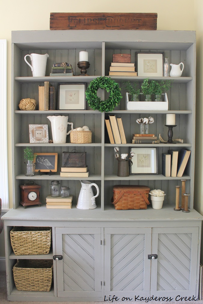 10 tips for decorating shelves like a pro - Decorating with Flea Market Finds - Painted Antique Hutch - Life on Kaydeross Creek