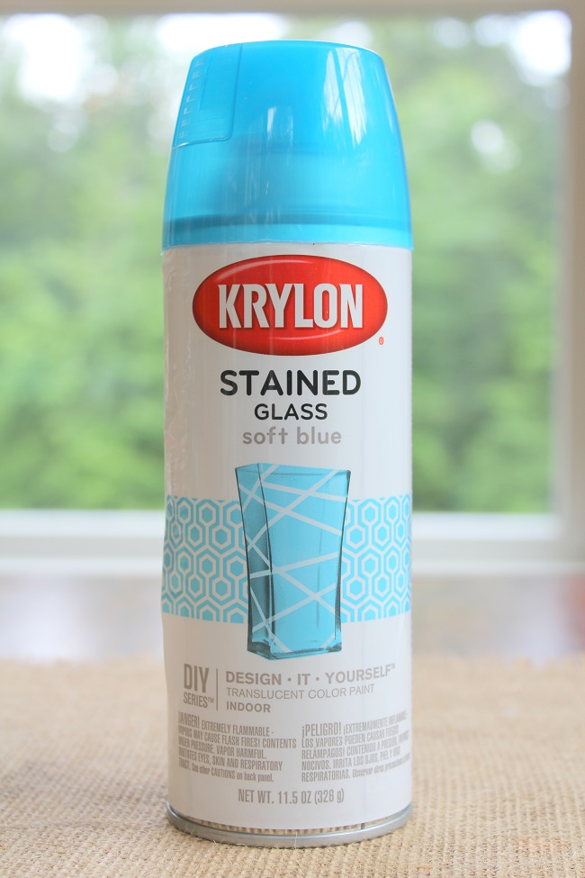 How to Create a Summer Vignette on a Budget - Stained glass spray paint - ocean blue inspiration - Life on Kaydeross Creek