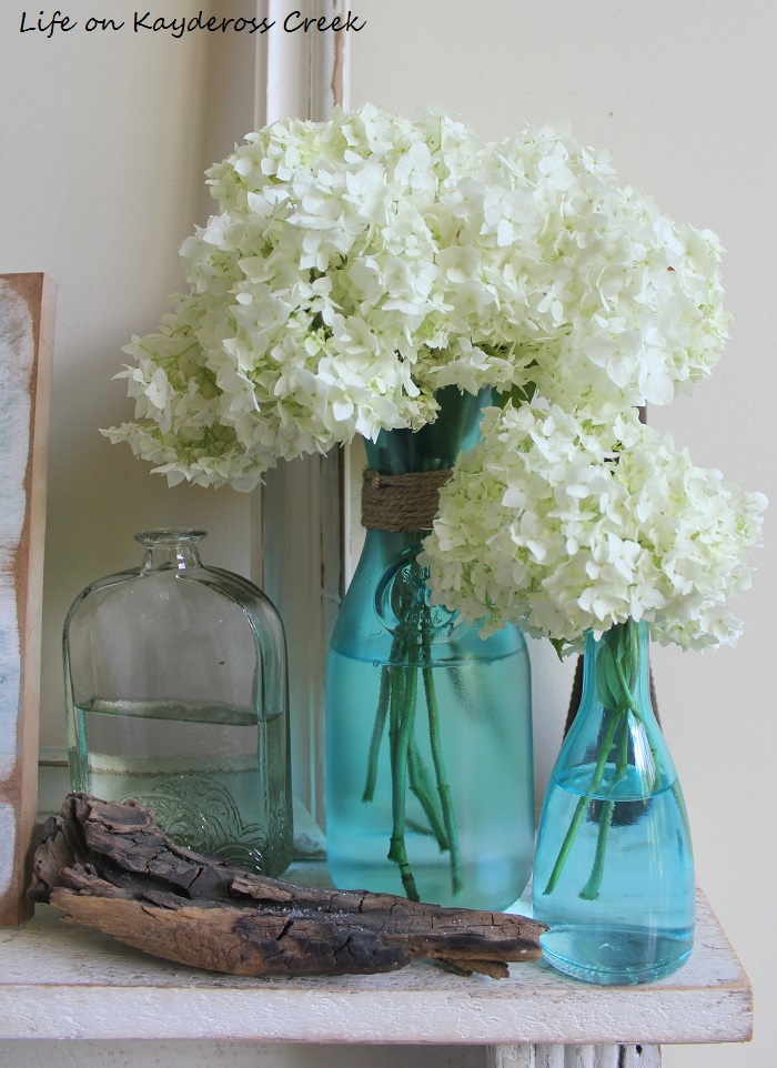 How to create a Summer Vignette on a Budget - DIY Blue glass, flowers and summer touches - Life on Kaydeross Creek