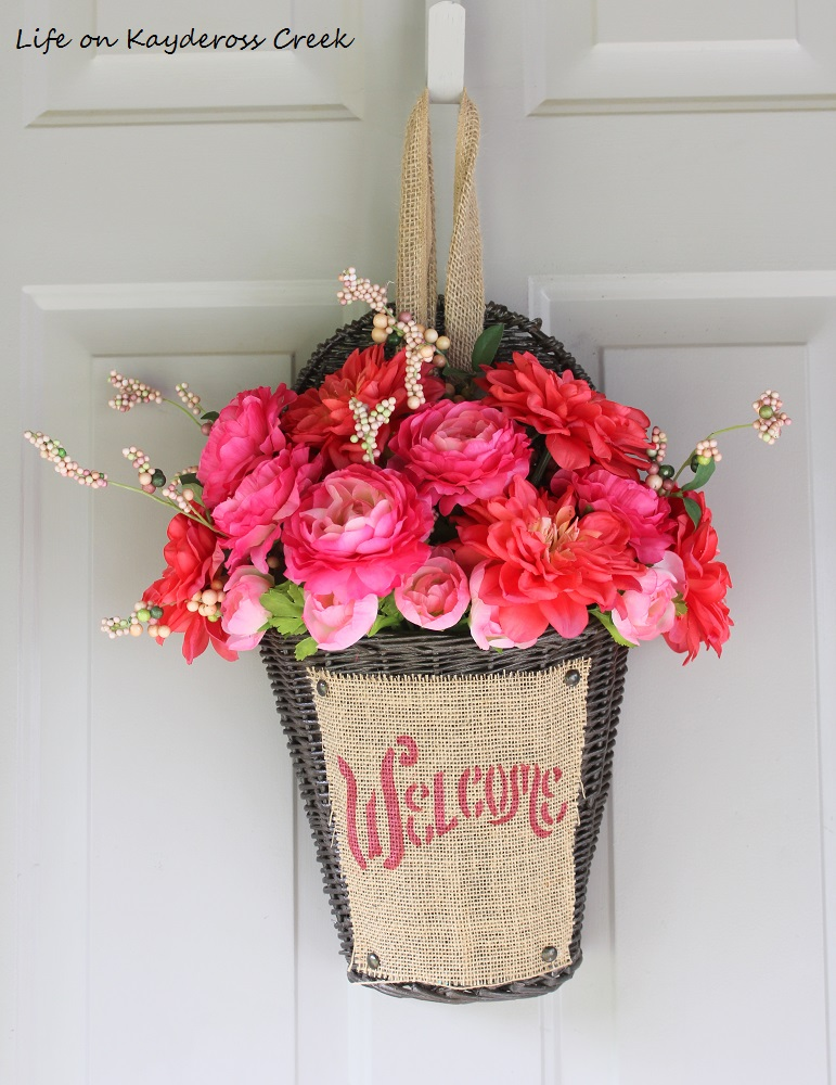 A colorful DIY alternative to a front door wreath - upcyle challenge - Life on Kaydeross Creek