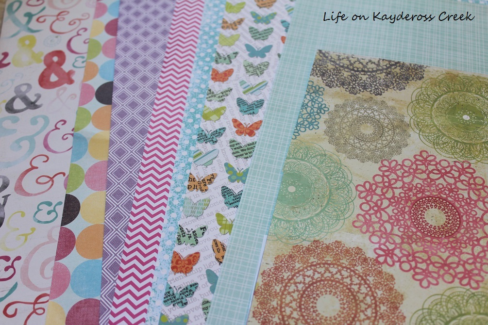 How to Create a Wall Gallery on a Budget -using scrapbook paper to add color and pattern - Life on Kaydeross Creek