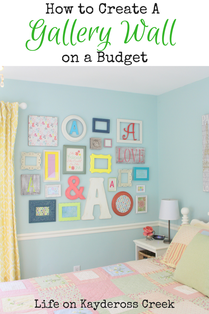 How to Create a gallery wall on a budget - using a mix of colors, textures and different size elements and DIY projects - Life on Kaydeross Creek