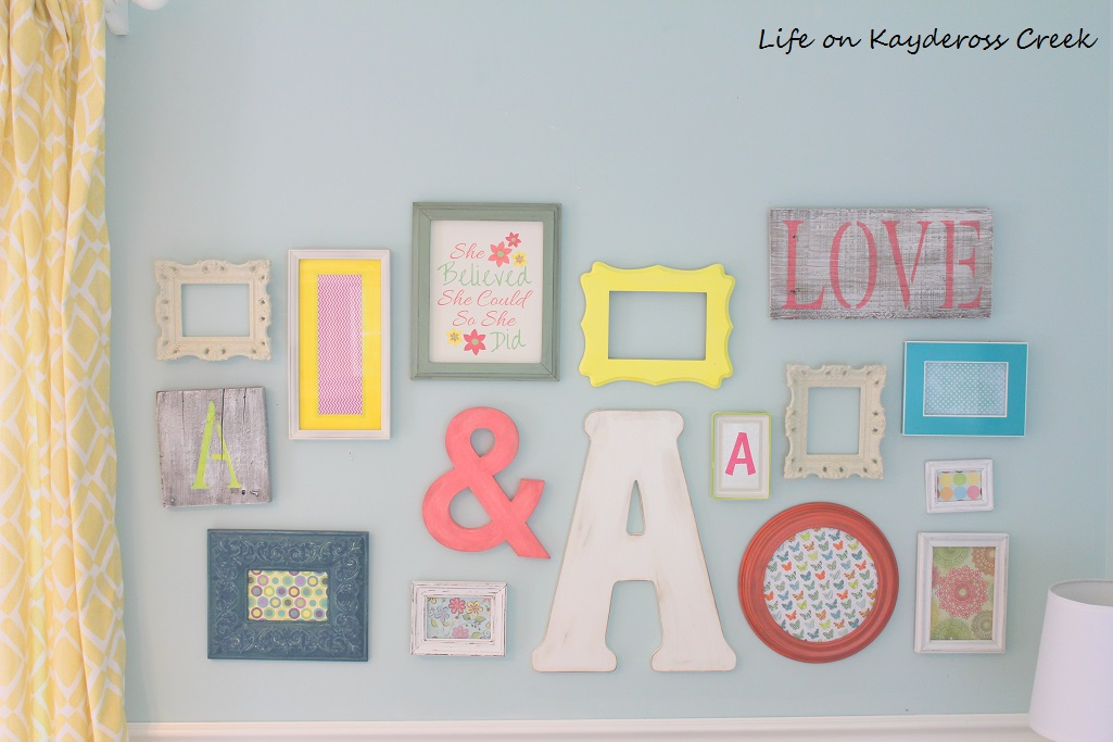 How to create a gallery wall on a budget - add pieces up and out until you fill in the space - Life on Kaydeross Creek