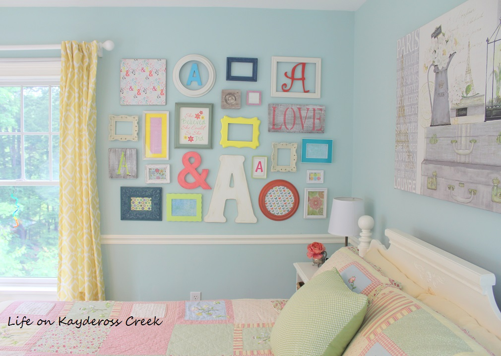 How to create a gallery wall on a budget - add pieces up and out until you fill in the space and complete the wall - Life on Kaydeross Creek