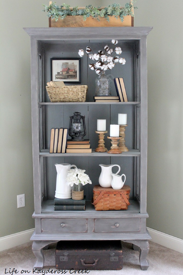 10 tips for decorating shelves like a pro - Painted Furniture - Antique Cabinet -Country Chic Paint - farmhouse -Life on Kaydeross Creek