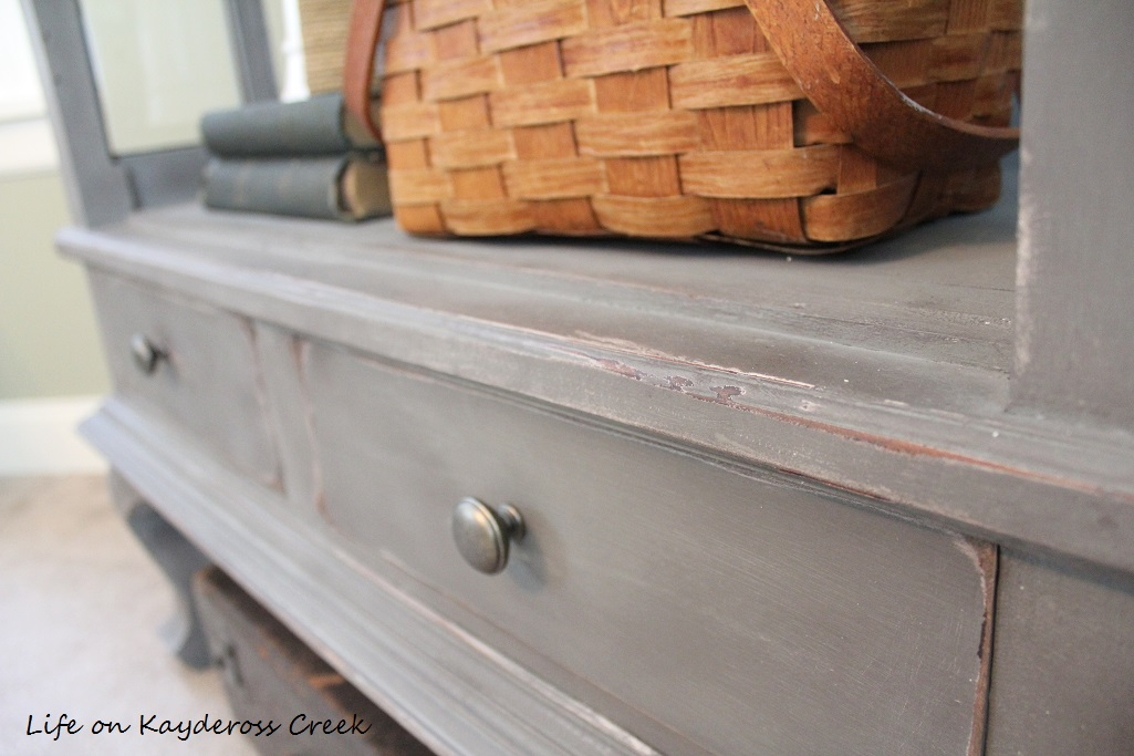 Painted Furniture - Antique Cabinet Makeover - Country Chic Paint - distress details - Farmhouse - Life on Kaydeross Creek