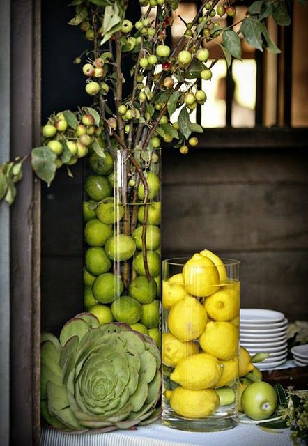 Creative ways to display flowers - lemons and limes - Life on Kaydeross Creek