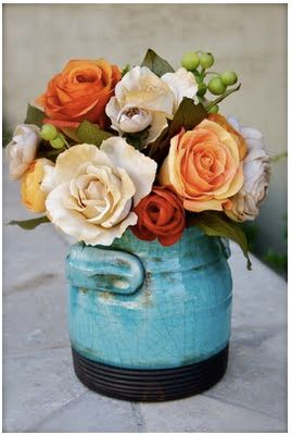 Creative Ways to display flowers - blue crock - farmhouse - Life on Kaydeross Creek