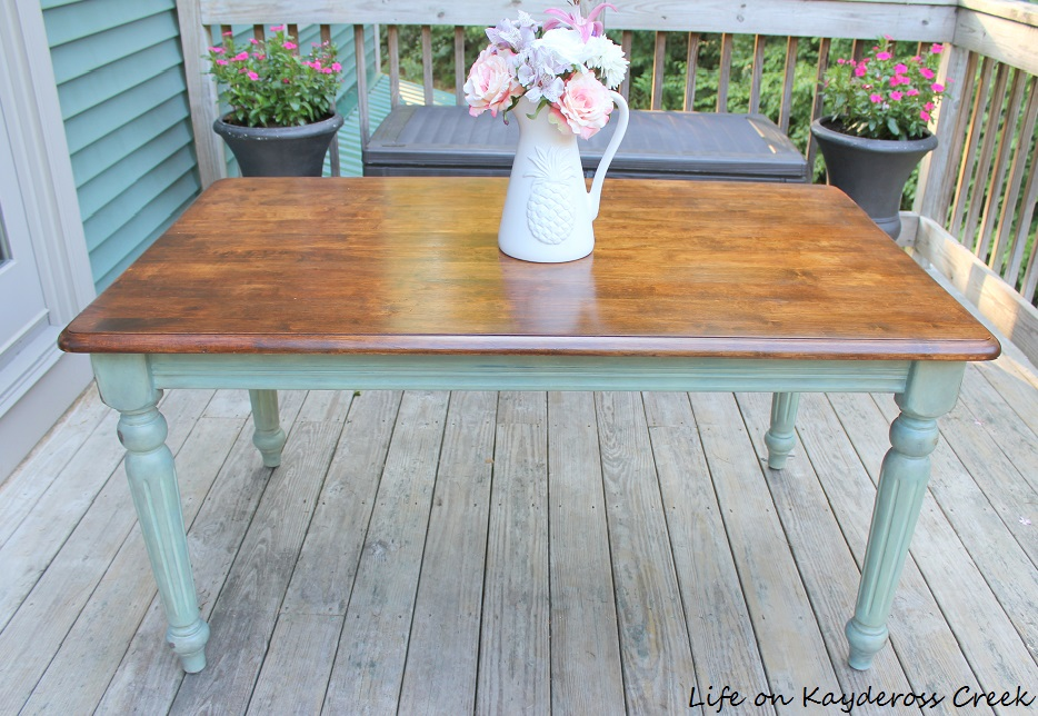 Thrift Store Table Makeover - Painted Furniture - Color wash paint technique with Antique Wax and stain completed - Life on Kaydeross Creek