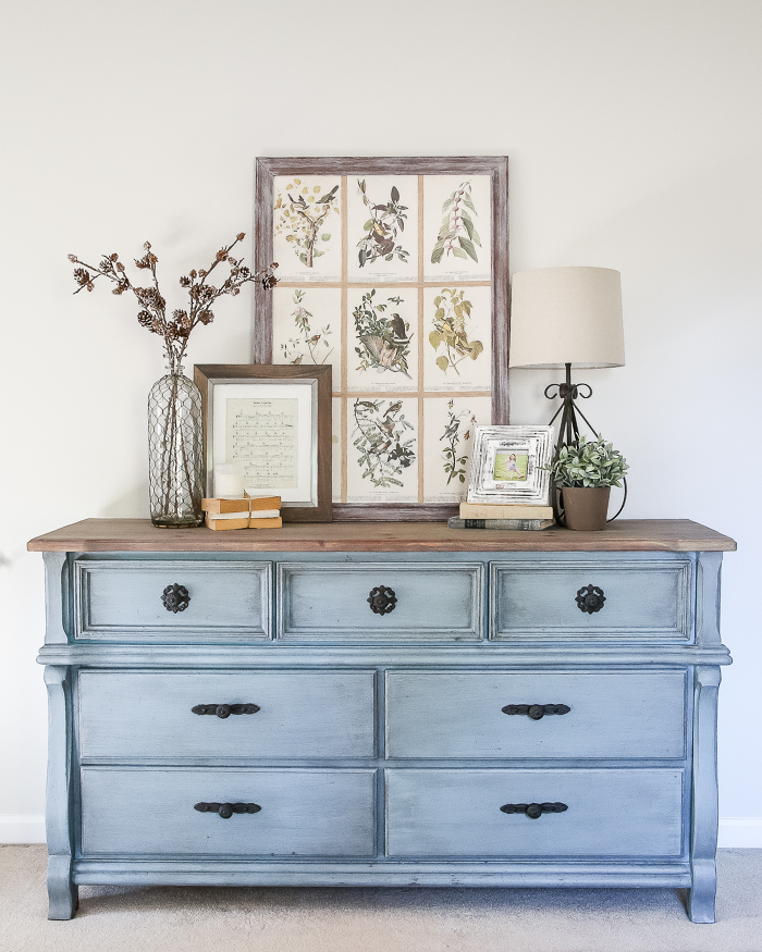 30 Farmhouse Furniture Makeovers - Blue Dresser - Life on Kaydeross Creek
