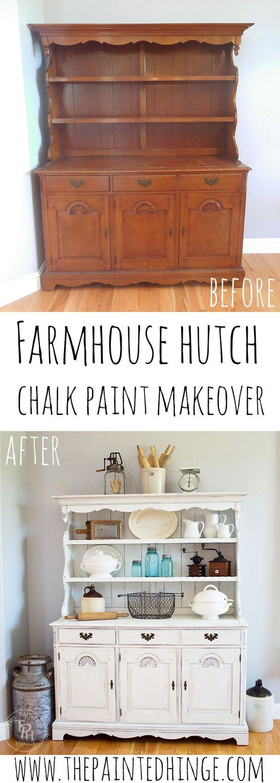 30 Farmhouse Furniture Makeovers - Hutch - Life on Kaydeross Creek