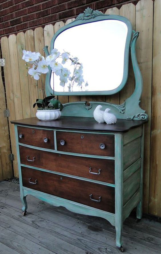 30 Farmhouse Furniture Makeovers - Two Tone Dresser - Life on Kaydeross Creek
