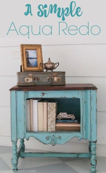 30 Farmhouse Furniture Makeovers - aqua end table - Life on Kaydeross Creek
