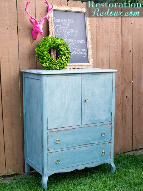 30 Farmhouse Furniture Makeovers - blue armoire dresser - Life on Kaydeross Creek