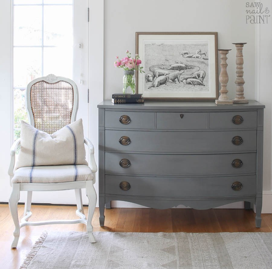 30 Farmhouse Furniture Makeovers - gray dresser - Life on Kaydeross Creek