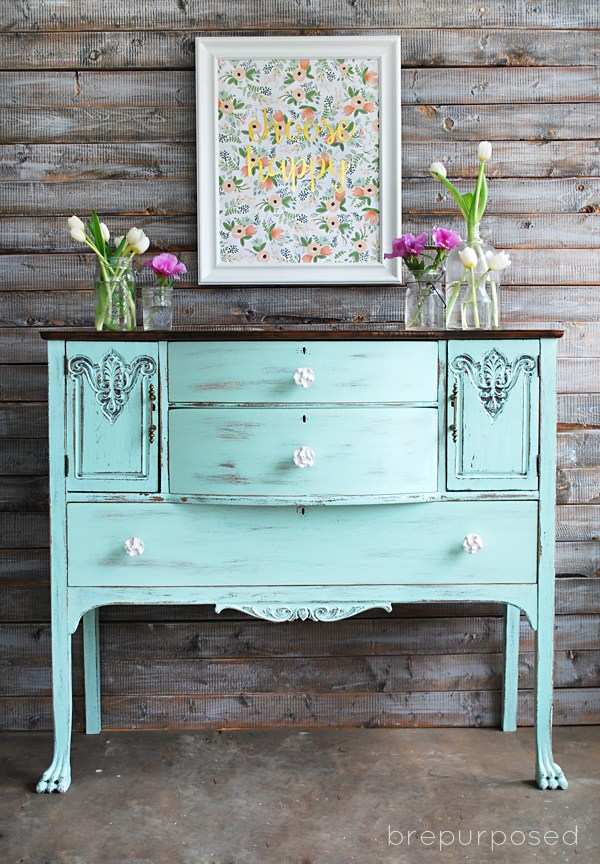 30 Farmhouse Furniture Makeovers - light aqua blue dresser - Life on Kaydeross Creek