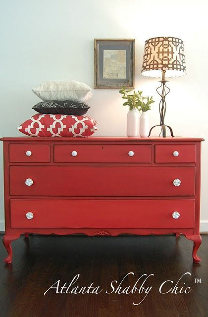 30 Farmhouse Furniture Makeovers - red dresser - Life on Kaydeross Creek