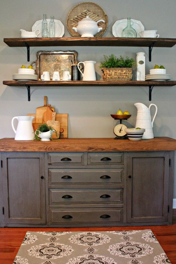 30 Farmhouse Furniture Makeovers Gray buffet with new wooden top - Life on Kaydeross Creek