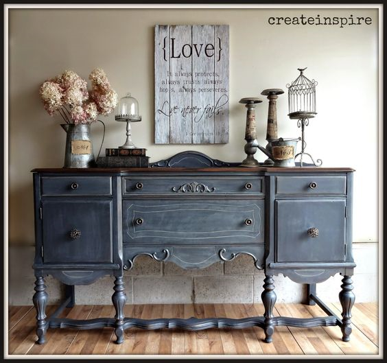 30 Farmhouse Furniture Makeovers - Blue Painted and antiqued Buffet - Life on Kaydeross Creek
