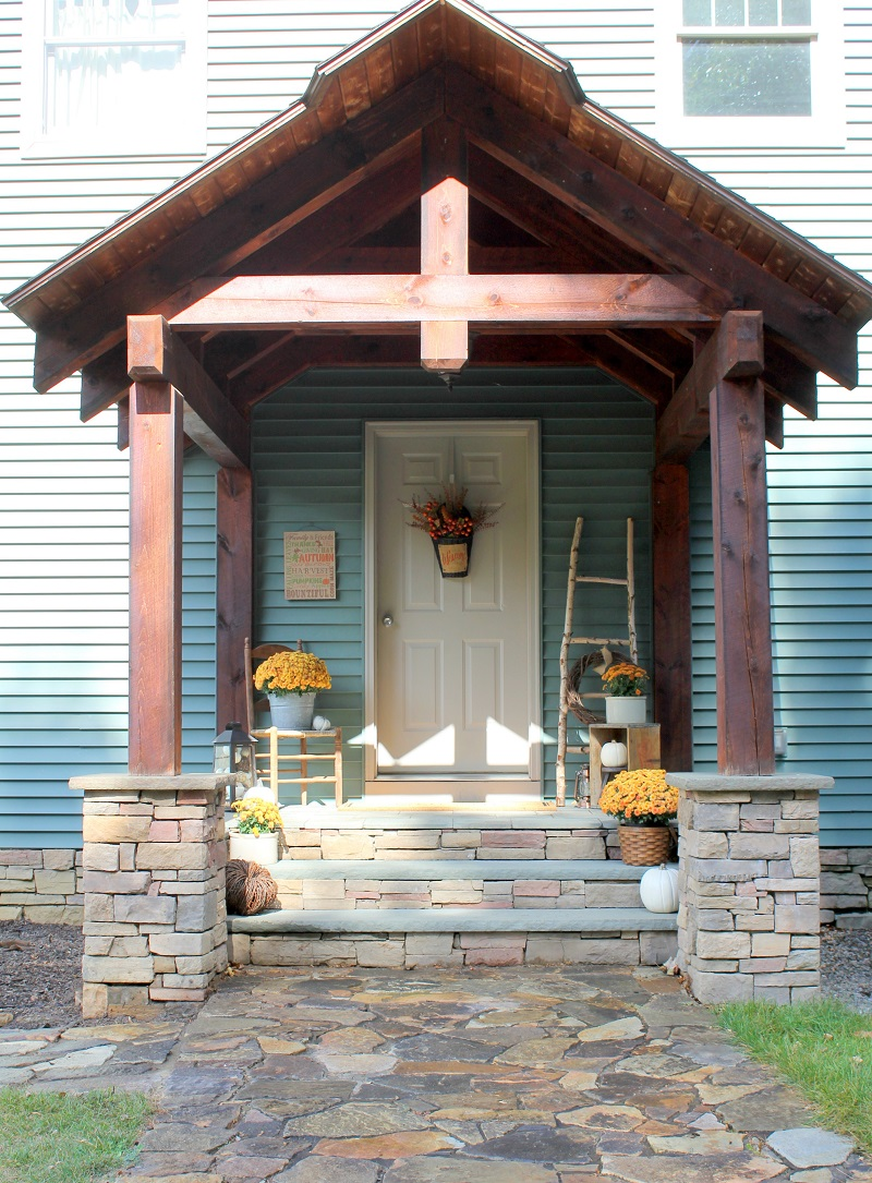 Fall Front Porch Tour and DIY Birch Ladder - Farmhouse - Life on Kaydeross Creek
