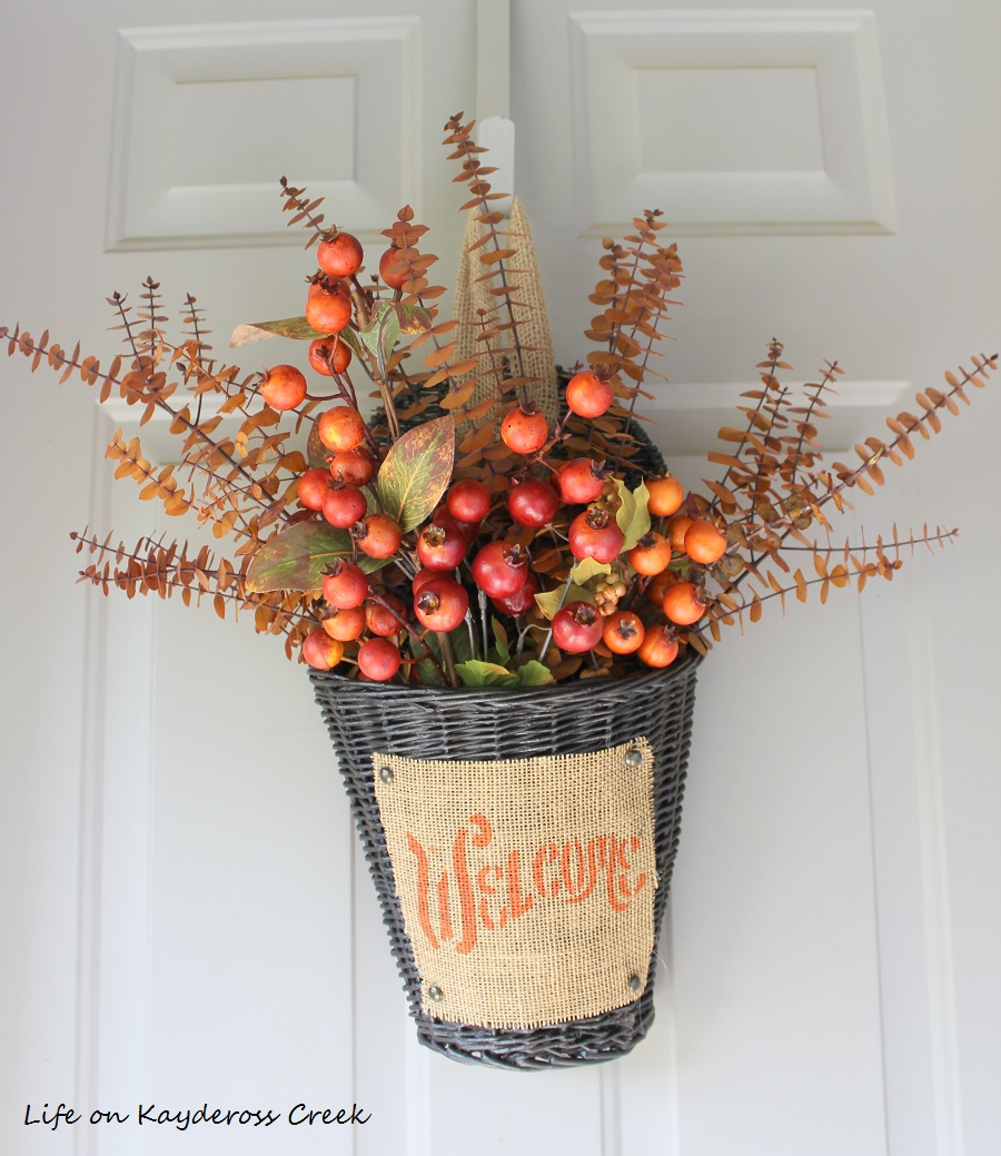 Fall Front Porch and DIY Birch Ladder - Flower Basket - Life on Kaydeross Creek