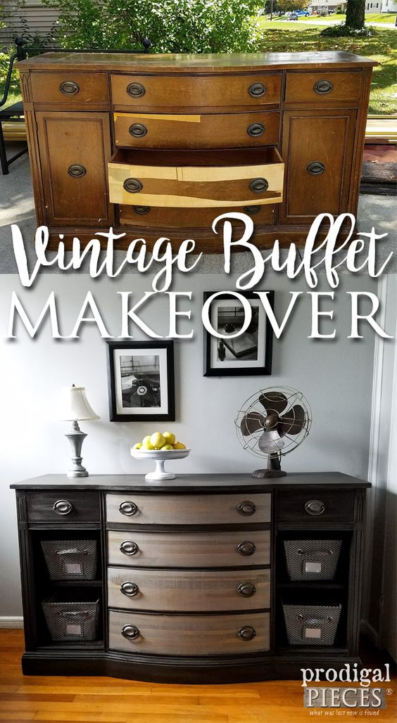 30 Farmhouse Furniture Makeovers- Vintage Buffet Makeover -Life on Kaydeross Creek