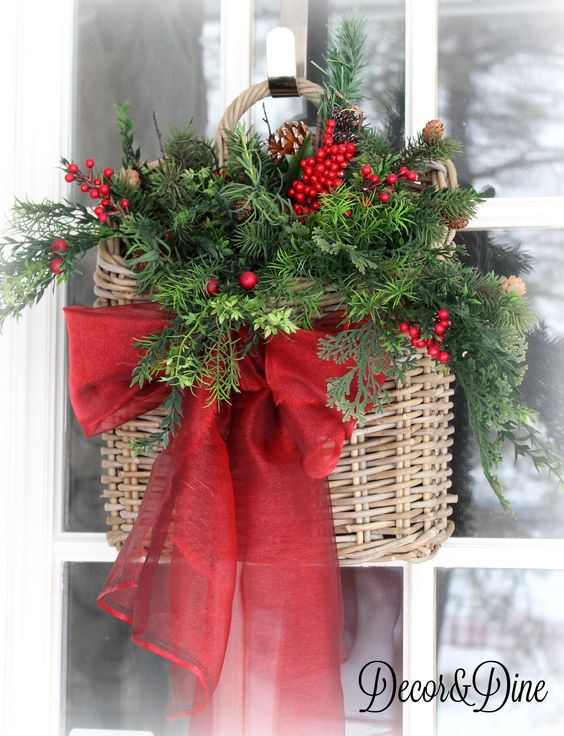 20 Alternatives to Wreaths for Fall and Winter - Basket with red ribbon - Life on Kaydeross Creek