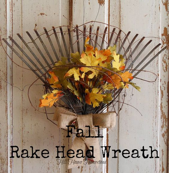 20 Alternatives to Wreaths for Fall and Winter - Fall rake wreath - Life on Kaydeross Creek
