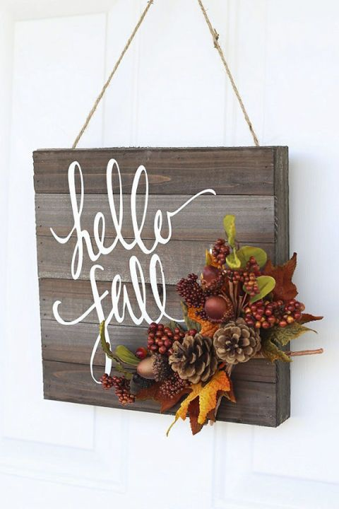 20 Alternatives to Wreaths for Fall and Winter - Hello Fall wooden sign - Life on Kaydeross Creek