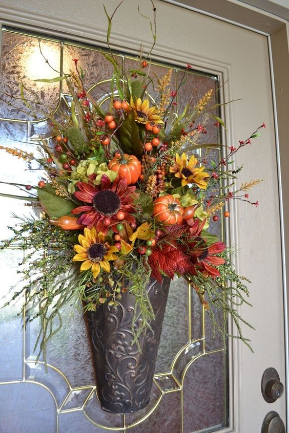 20 Alternatives to a wreath for Fall and Winter - Metal container - Life on Kaydeross Creek