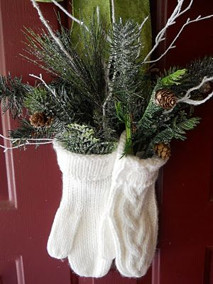 20 Alternatives to Wreaths for Fall and Winter - Mittens with greens - Life on Kaydeross Creek