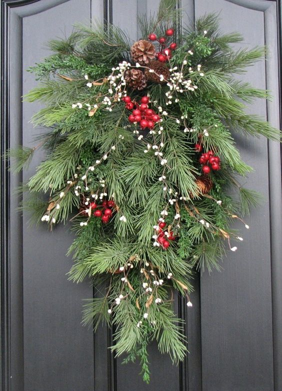 20 Alternatives to Wreaths for Fall and Winter - Pine branch spray - Life on Kaydeross Creek