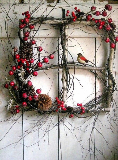 20 Alternatives to a Wreath for Fall and Winter - Stick window with berries and pine cones - Life on Kaydeross Creek