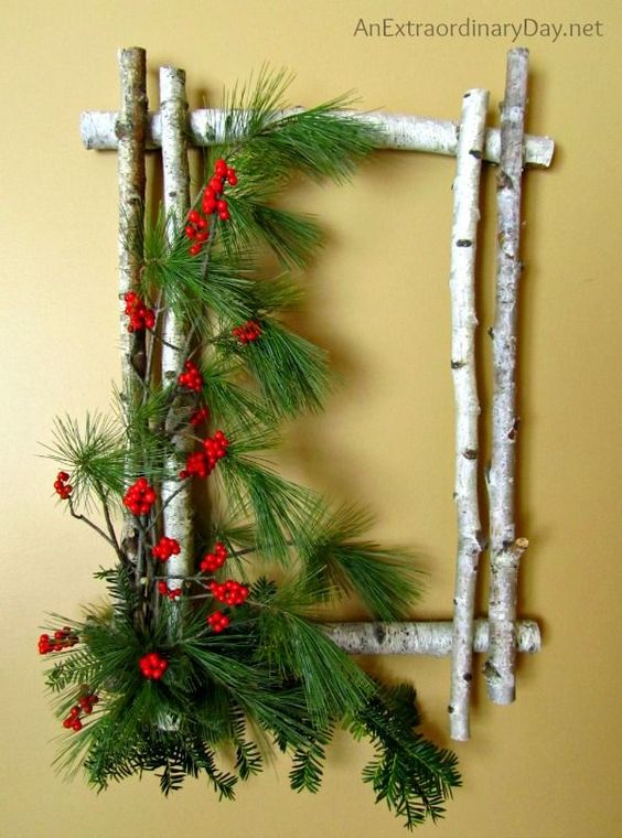 20 Alternatives to Wreaths - birch twig wreath with berries - Life on Kaydeross Creek