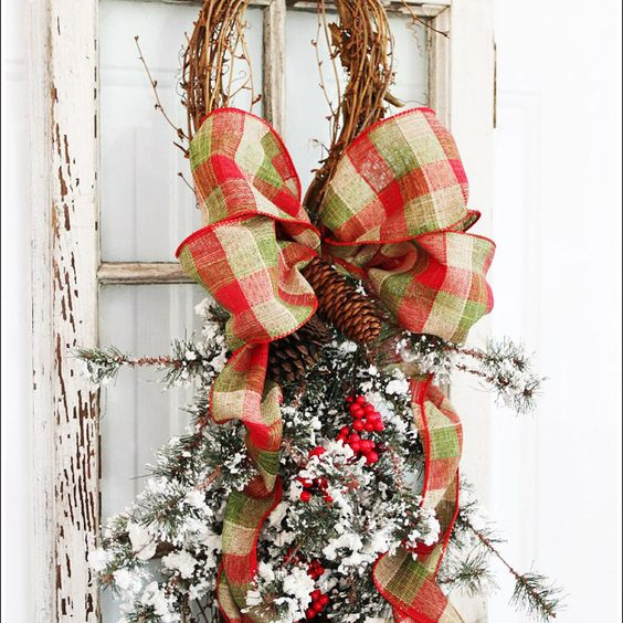 20 Alternatives to Wreaths for Fall and Winter - grapevine and pine swag - Life on Kaydeross Creek