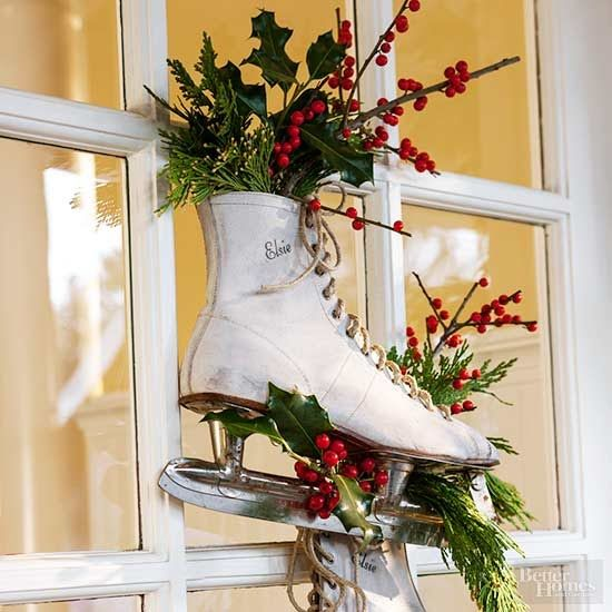 20 Alternatives to Wreaths for Fall and Winter - ice skate wreath - Life on Kaydeross Creek