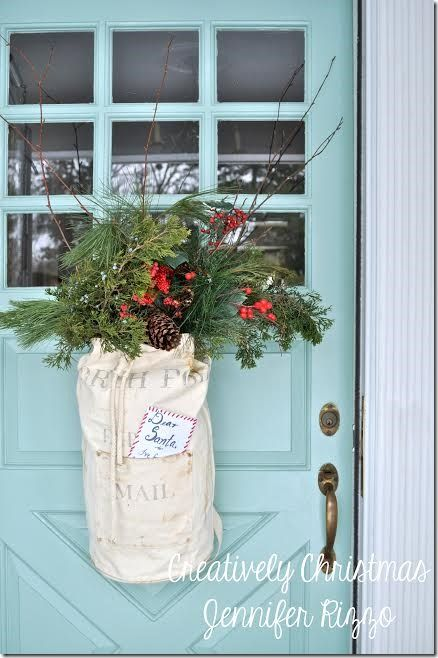 20 Alternatives to Wreaths for Fall and Winter - large burlap bag - Life on Kaydeross Creek